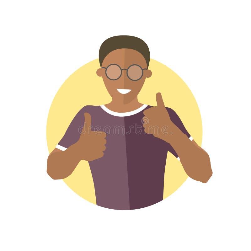 Glad, glad gladlynt svart pojke i exponeringsglas Plan designsymbol av den stiliga afrikanska mannen med tummar upp Kyla glädje,  royaltyfri illustrationer