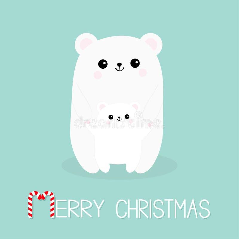 glad godisrottingjul Polar vit liten liten björngröngöling Gulligt tecknad filmtecken - uppsättning Att krama för moder behandla  stock illustrationer