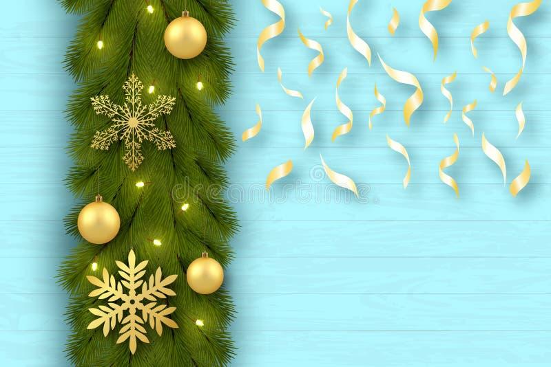 glad greeting för kortjul festlig bakgrund Trädfilialer ordnas vertikalt Leksaker guld- bollar, snöflingor, konfettier vektor illustrationer