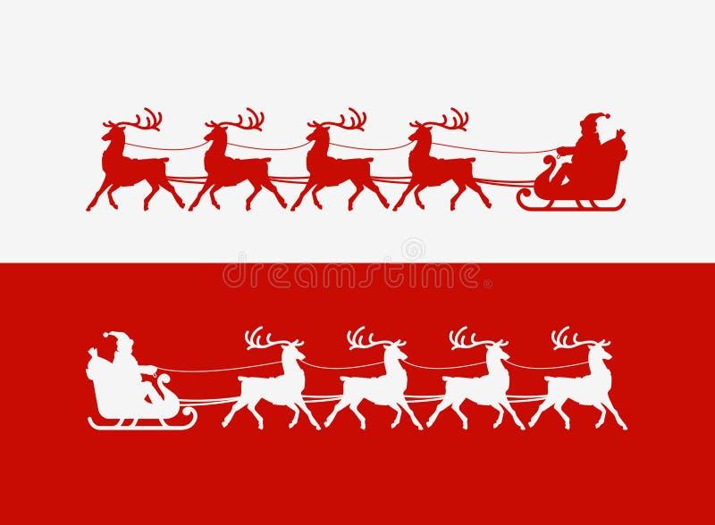 glad greeting för kortjul Santa Claus rider i en släde som dras av renen också vektor för coreldrawillustration royaltyfri illustrationer