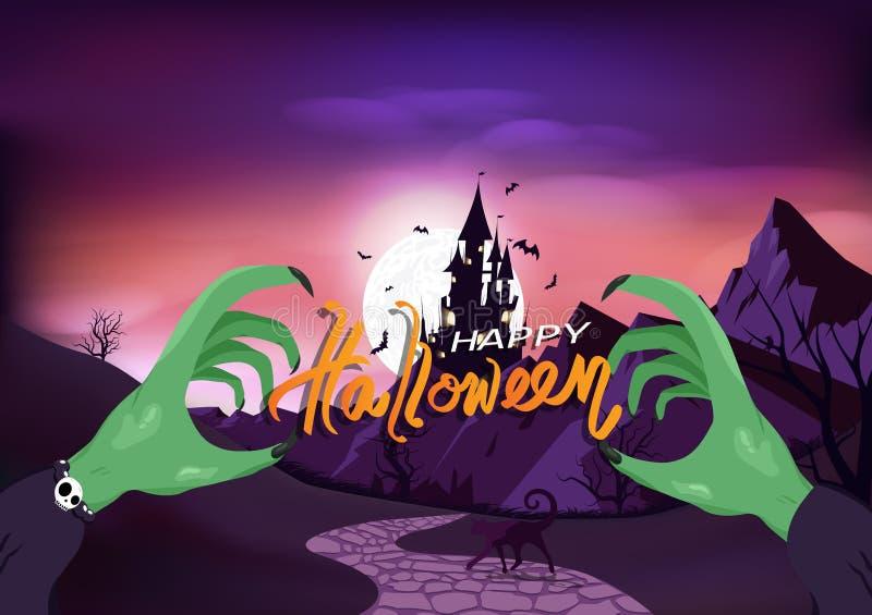 Glad Halloween, hälsningskort för häxhandaffisch, slott med fullmåne, fasansfull bakgrundsvektor av gotisk typ royaltyfri illustrationer