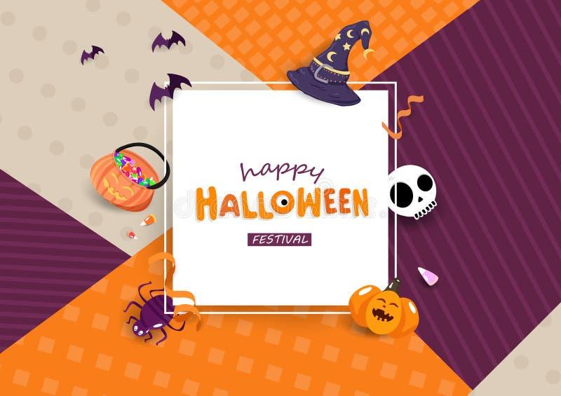 Glad Halloween-hälsningskort, fest för fyrkantsfest för semesteraffisch, platt teckningsinbjudan vektor illustrationer