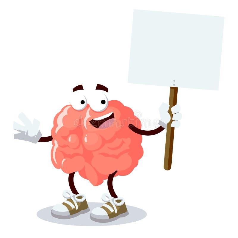 Glad hjärna för tecknad film med minnestavlan i hand royaltyfri illustrationer