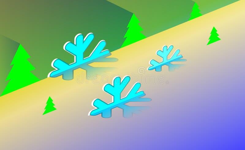 Glad isometry jultappningbakgrund med det gröna trädet och prydnader från ljusa snöflingor För nya år på bakgrundblått Co stock illustrationer