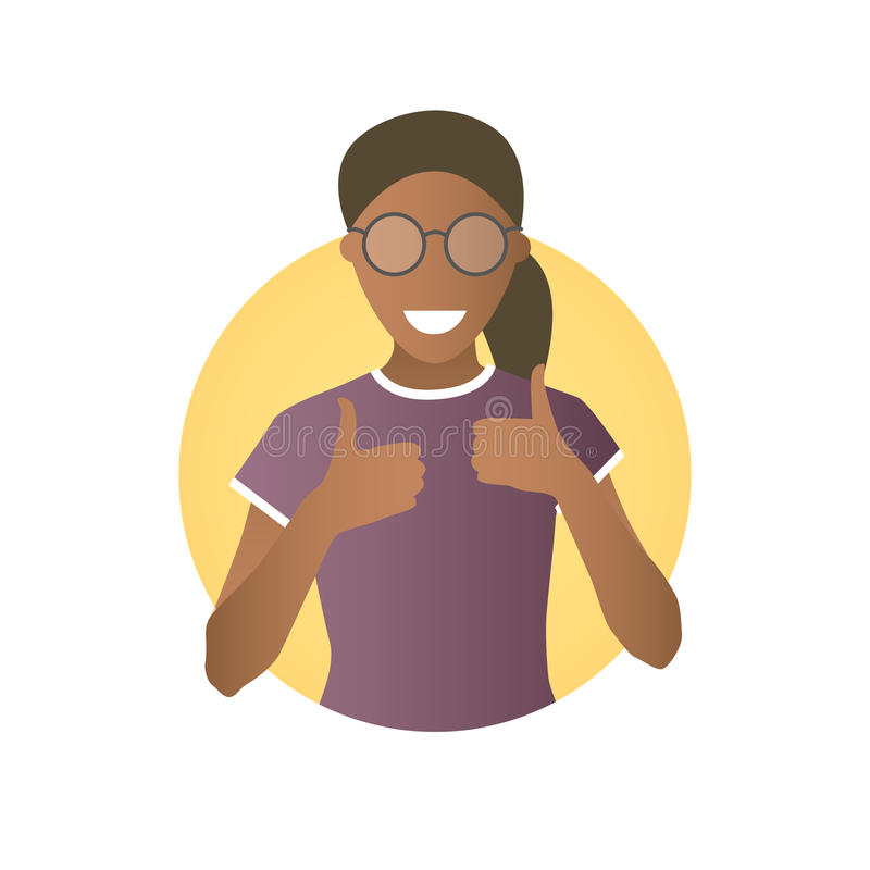 Glad, joyful, cheerful black girl in glasses. Flat gradient icon of woman with thumbs up. Simply editable isolated on white vector. Sign stock illustration