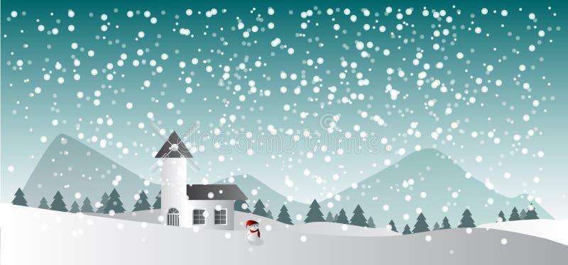 Glad jul, bakgrundshus i snöskogen royaltyfri illustrationer