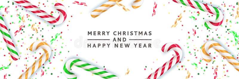 Glad jul, baner för lyckligt nytt år, affischbakgrund Realistisk illustration för vektor 3d av den flerfärgade randiga godisen royaltyfri illustrationer