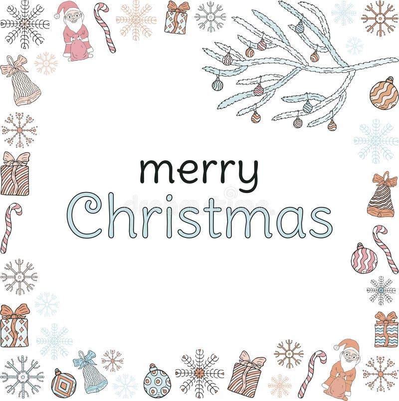 glad jul baner Inskriften i ramen av Santa Clauses, julgranfilialer, gåvor, sötsaker, snöflingor, klockor vektor illustrationer