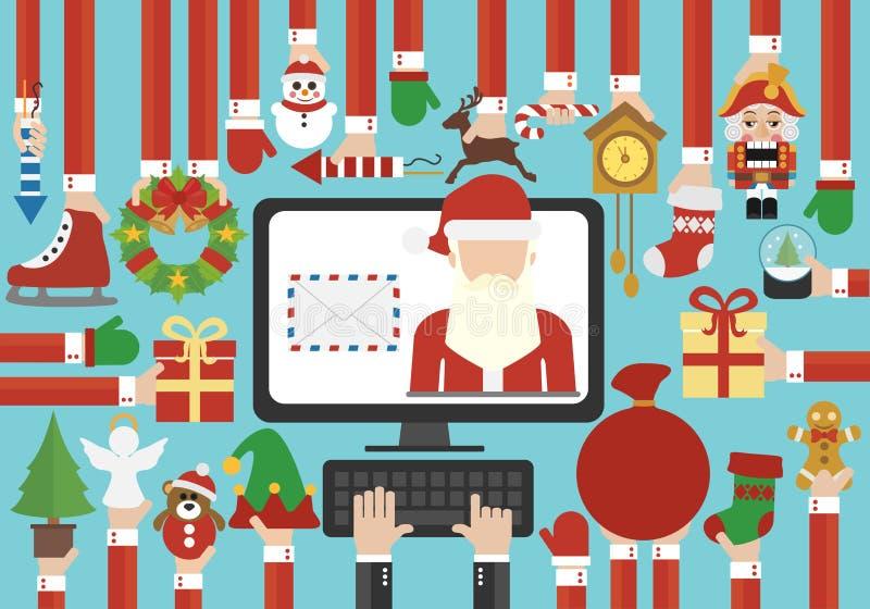 Glad jul, bokstav för modern design för lyckligt nytt år plan online-överförande med Santa Claus stock illustrationer