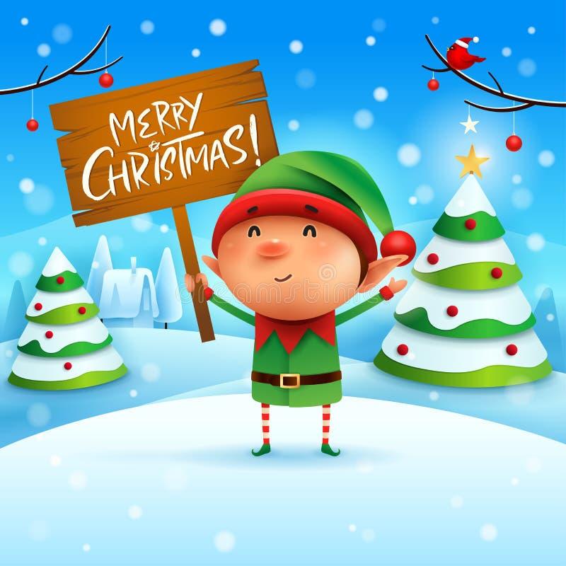Glad jul! Den lilla älvan rymmer träbrädet undertecknar i landskap för julsnöplatsvinter stock illustrationer