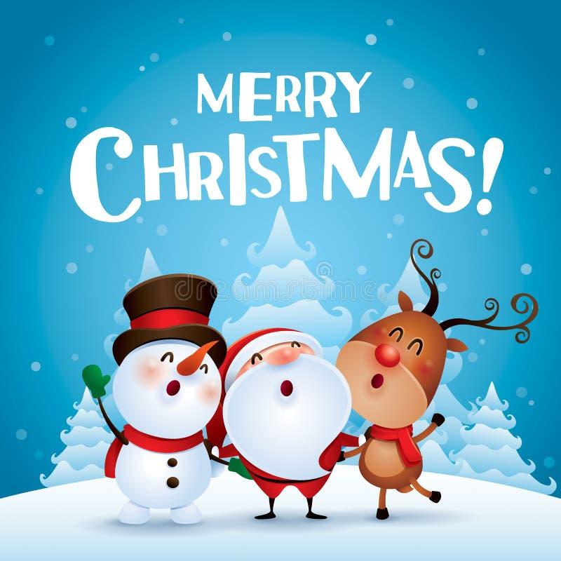 Glad jul! Följen för lycklig jul royaltyfri illustrationer