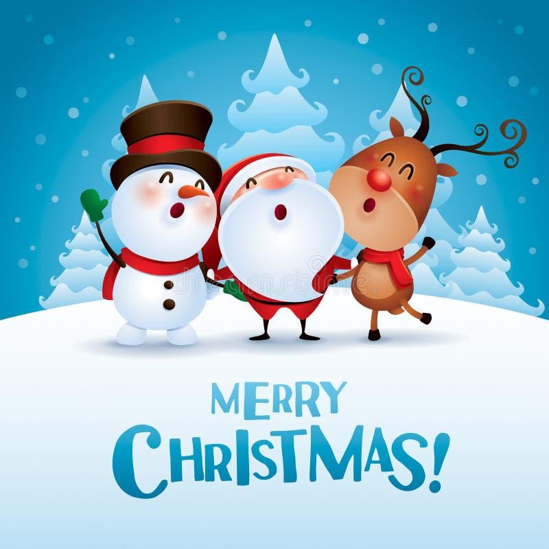 Glad jul! Följen för lycklig jul vektor illustrationer