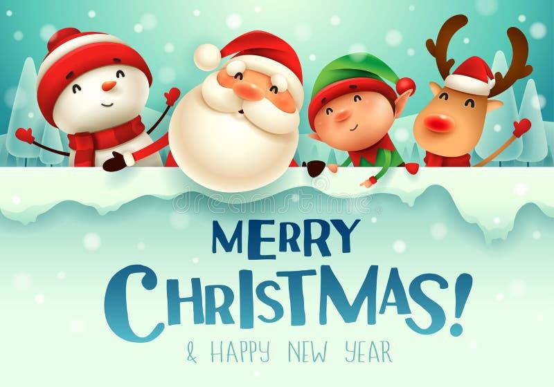 Glad jul! Följen för lycklig jul med den stora skylten i landskap för julsnöplatsvinter royaltyfri illustrationer