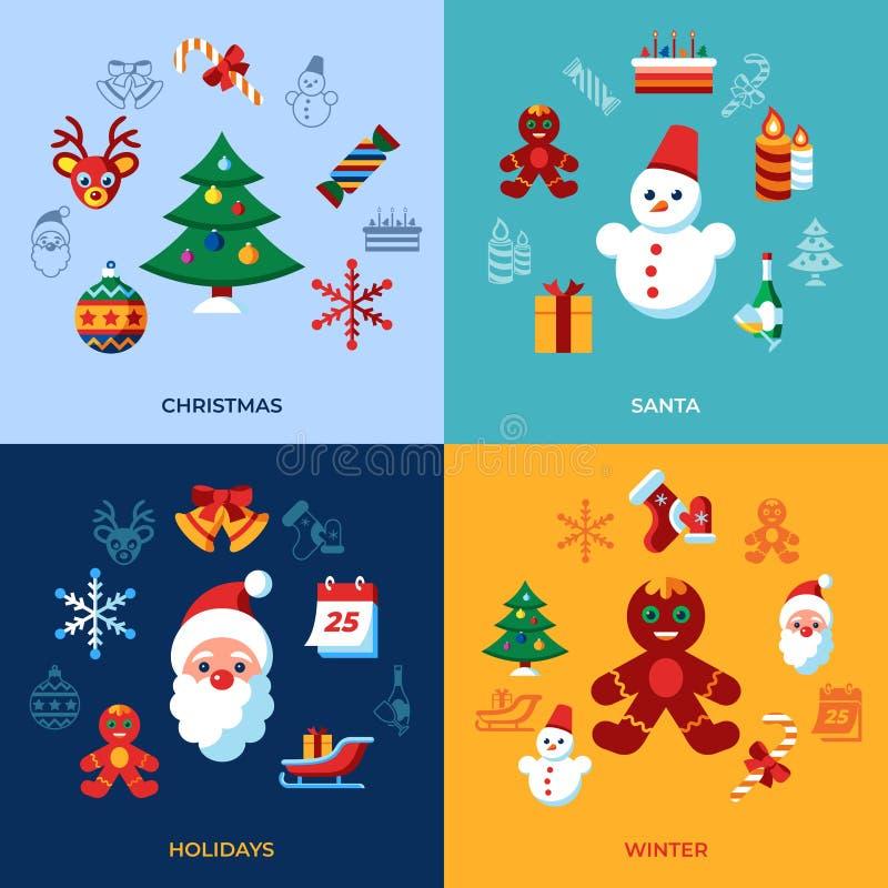 Glad jul för Digital vektor och vinterferier royaltyfri illustrationer