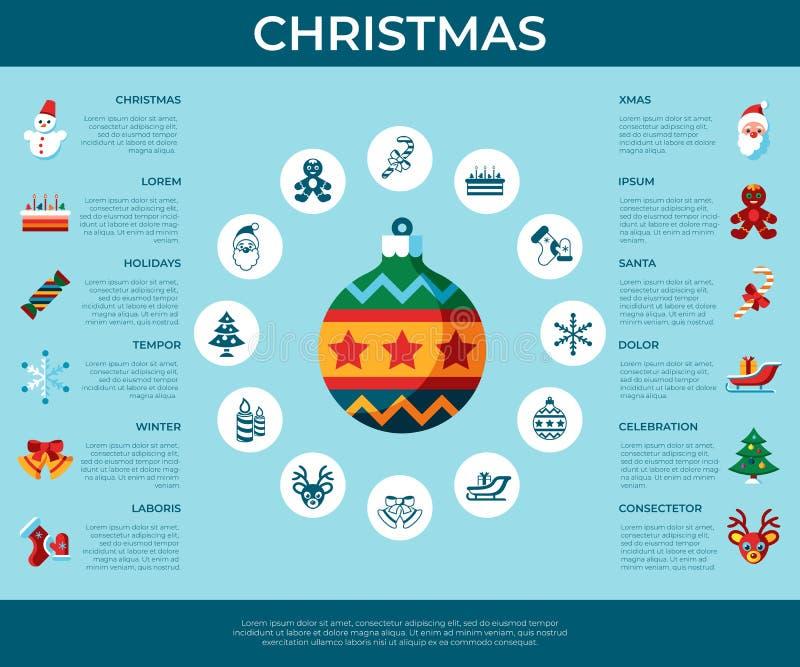 Glad jul för Digital vektor och vinterferier stock illustrationer