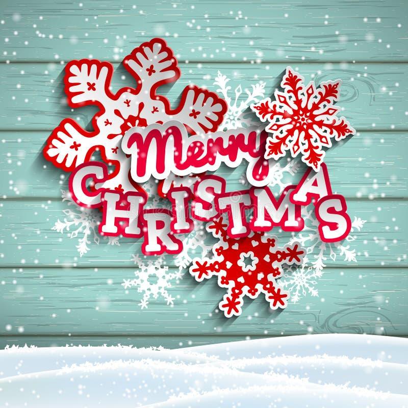 Glad jul för färgrik dekorativ text på träbakgrund, illustration stock illustrationer