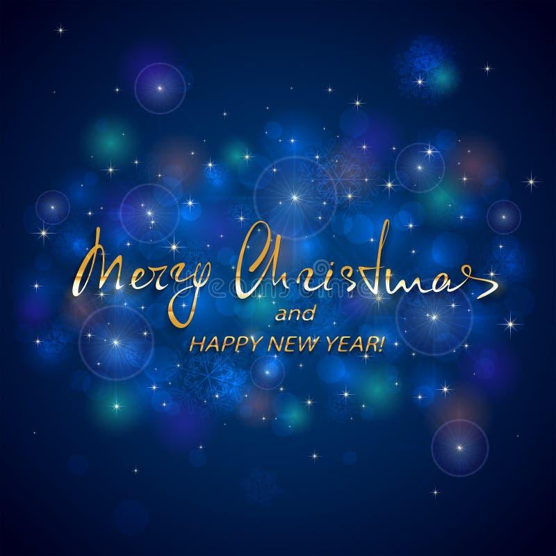 Glad jul för guld- bokstäver och lyckligt nytt år på blått tillbaka stock illustrationer