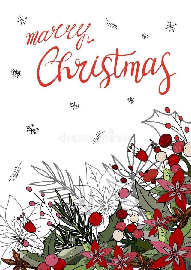 Glad jul för hälsningkort med julstjärnan royaltyfri illustrationer