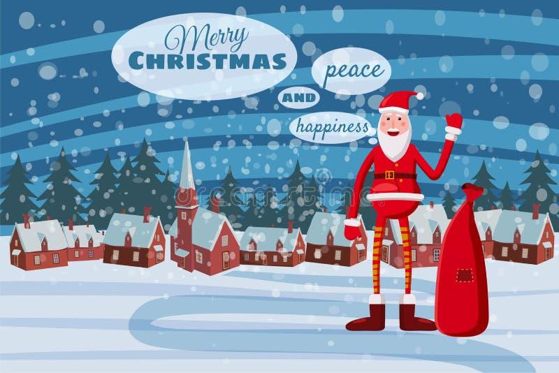 Glad jul för hälsningkort och lyckligt nytt år, Santa Claus som rymmer en gåvaask, vinterlandskap, by som hälsar stock illustrationer