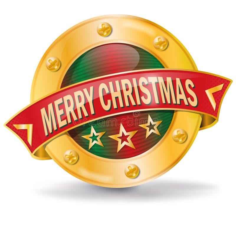 Glad jul för knapp royaltyfri illustrationer