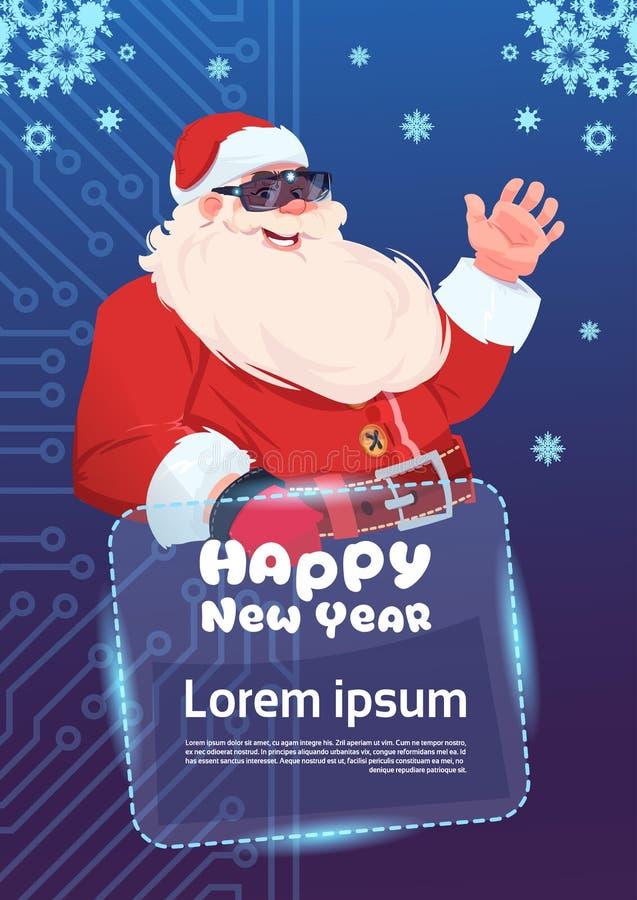 Glad jul för Santa Claus Wear Digital Glasses Virtual verklighetbegrepp och hälsningkort för lyckligt nytt år stock illustrationer