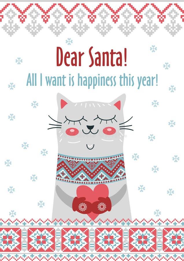 Glad jul för vektormallkort i traditionell stil med den gulliga kattgåvan Nya år vinterbakgrundsferie royaltyfri illustrationer