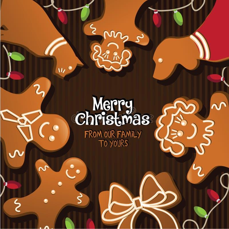 Glad jul från vår familj till din stock illustrationer
