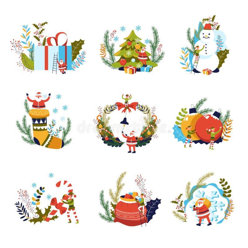 Glad jul, gåvor och älva med den Santa Claus vektorn royaltyfri illustrationer