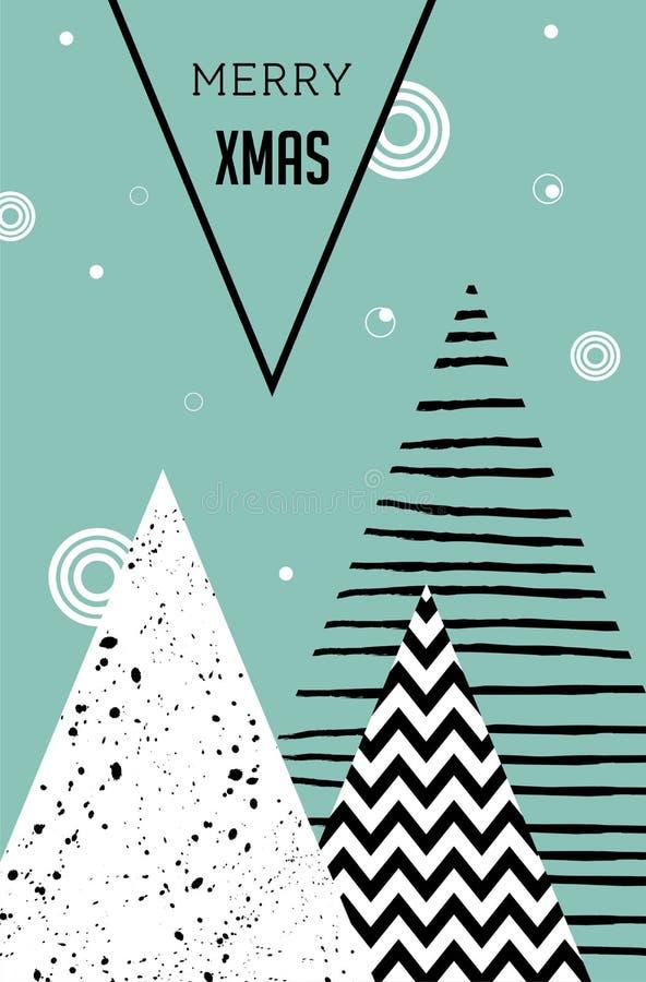 Glad jul, geometrisk abstrakt bakgrund, affisch, tema och skandinavisk stil stock illustrationer