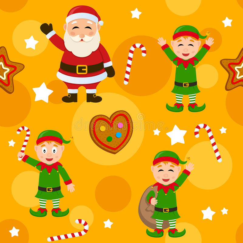 Glad jul gulnar den sömlösa modellen royaltyfri illustrationer