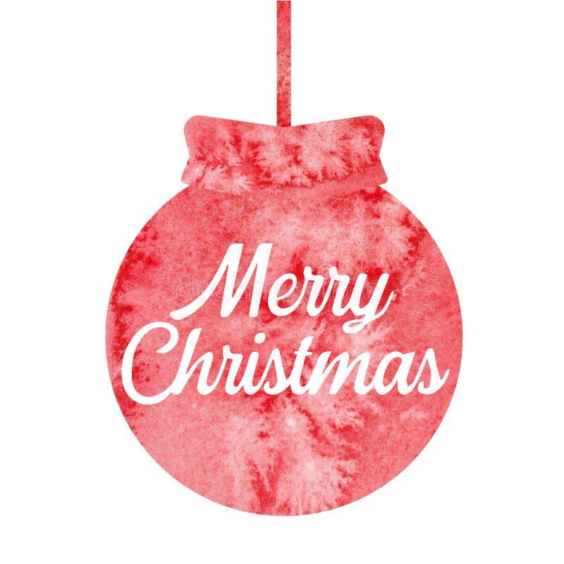 glad jul Hälsa julkortet med den röda julbollen vattenfärg arkivfoto