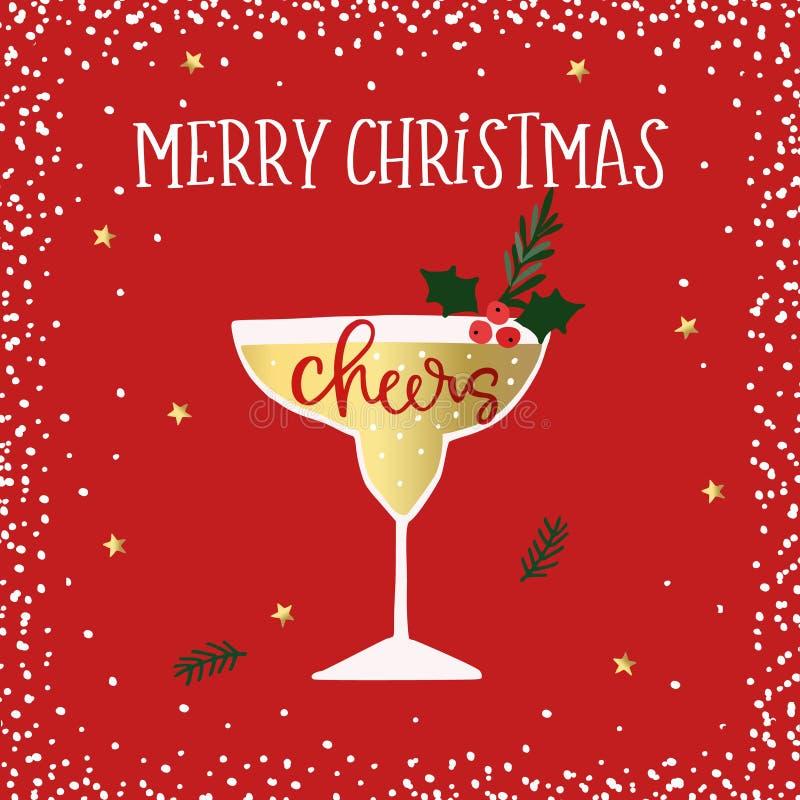 Glad jul, hälsningkort för lyckligt nytt år Coctail vinexponeringsglas med järnekbär Jubelhandletterdtext Vinter vektor illustrationer
