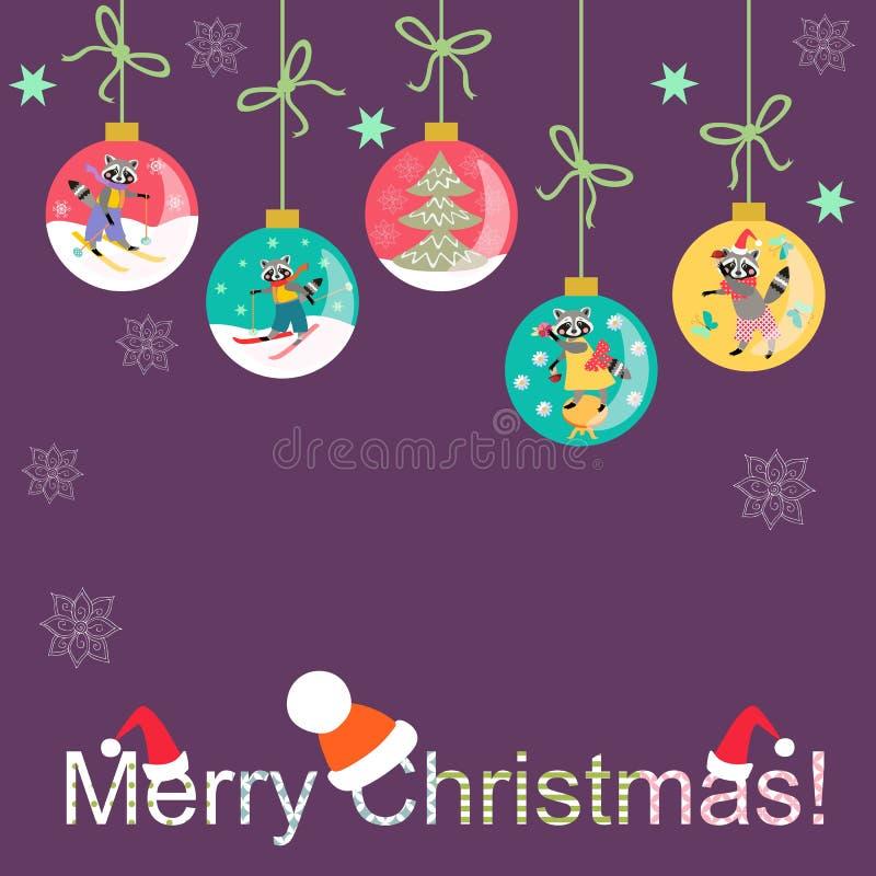 Glad jul! Hälsningkort med julbollar och snöflingor vektor illustrationer