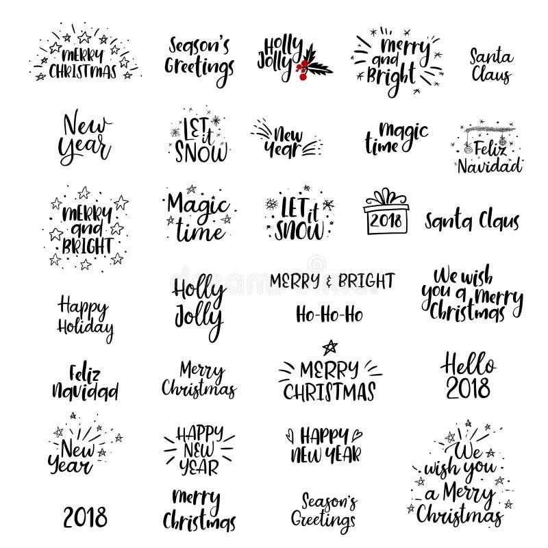 Glad jul, handskriven uppsättning för lyckligt nytt år 2018 calligraphy isolerat vektor illustrationer