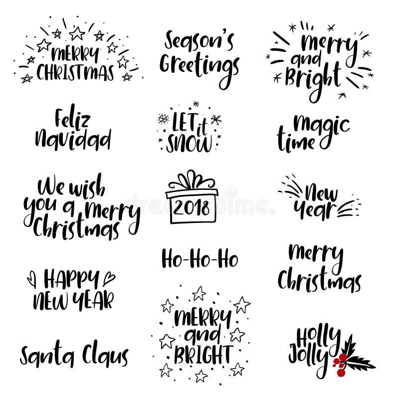 Glad jul, handskriven uppsättning för lyckligt nytt år 2018 calligraphy isolerat royaltyfri illustrationer