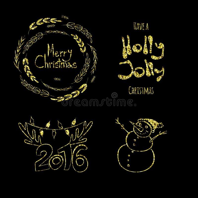 Glad jul, Holly Jolly, lyckligt nytt 2016 år! Calligraphic etiketter, bokstavsbeståndsdelar som göras av guld-, blänker stock illustrationer