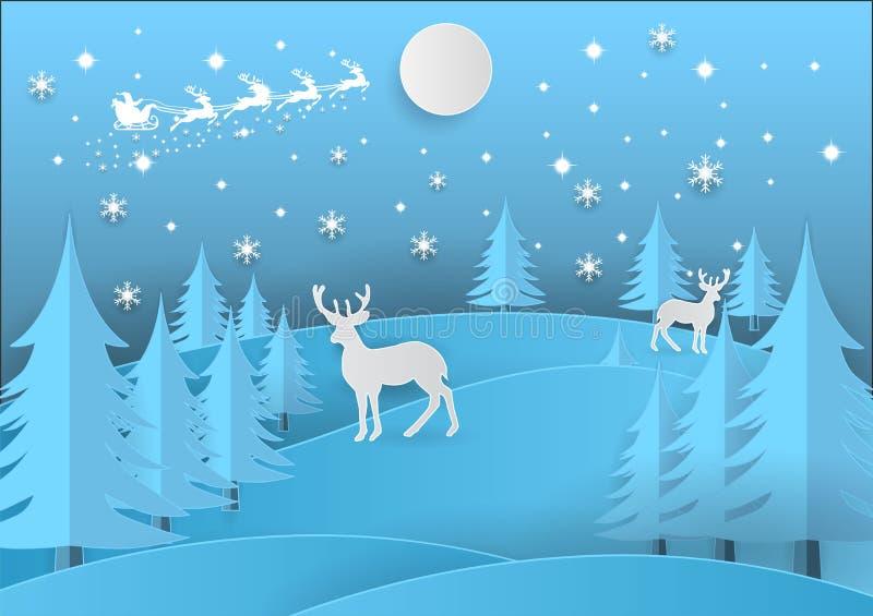 glad jul Illustration av Santa Claus på himlen med snöflingan, hjortar och trädet, pappers- konsthantverkstil stock illustrationer