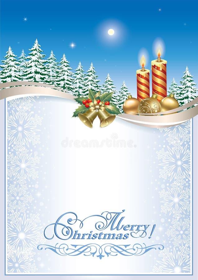 glad jul Julbakgrund med stearinljus och klockor royaltyfri illustrationer