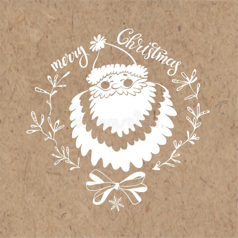 glad jul Julhälsningkort med Santa Claus på kraft papper vektor illustrationer