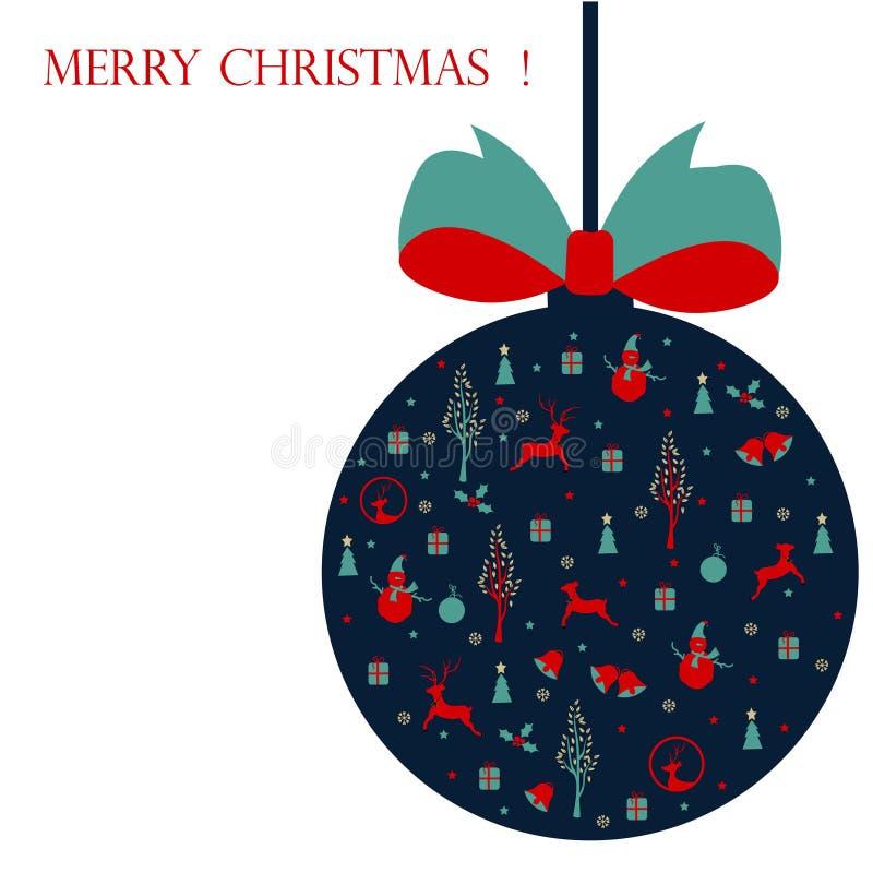 Glad jul, julkort med symboler royaltyfri foto