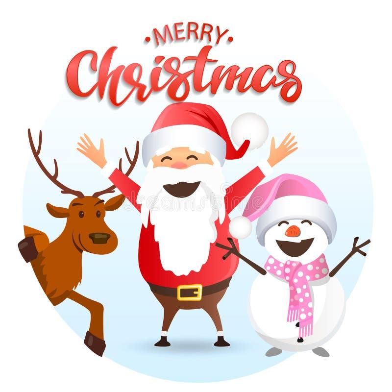 Glad jul, jultomten hjortar och snögubbe stock illustrationer