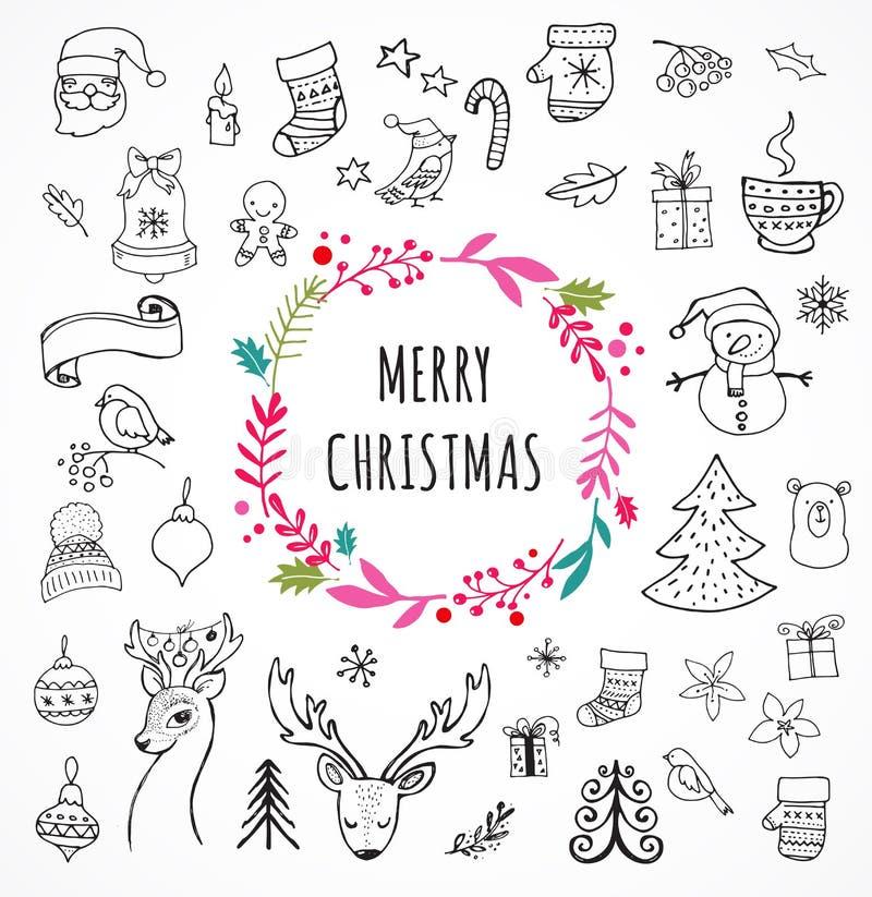 Glad jul - klottra Xmas-symboler, hand drog illustrationer royaltyfri illustrationer