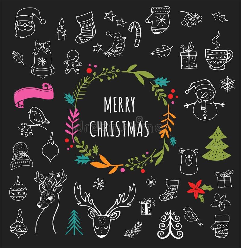 Glad jul - klottra Xmas-symboler, hand drog illustrationer vektor illustrationer