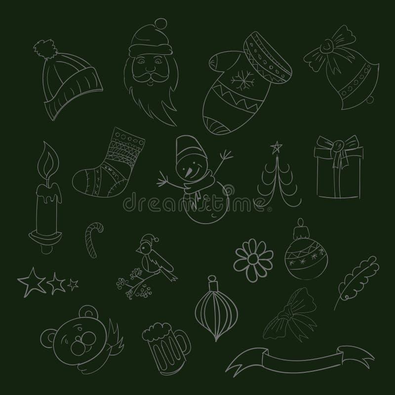 Glad jul klottrar Xmas-symboler, hand dragen illustrationsep royaltyfri illustrationer