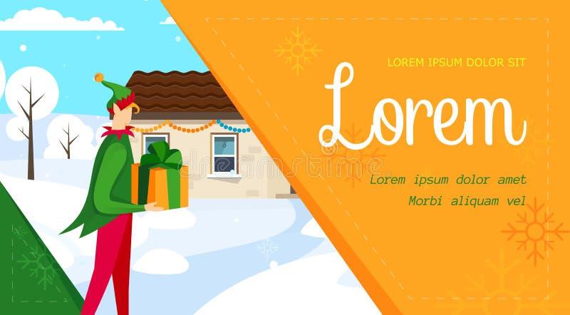 Glad jul, kortmall för lyckligt nytt år royaltyfri illustrationer