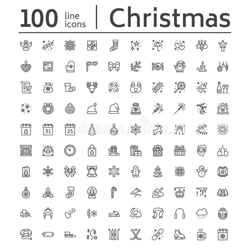 Glad jul, lägenhetlinje symboler för nytt år Gåvor snöflingor, gåvor, bokstav till Santa Claus, garnering, vintersport vektor illustrationer