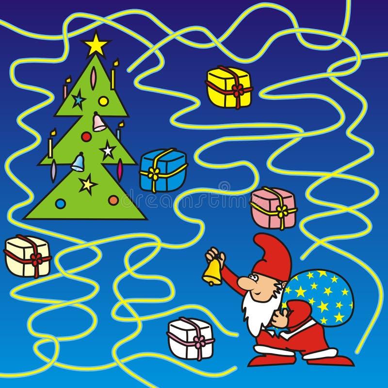 Glad jul - labyrint stock illustrationer