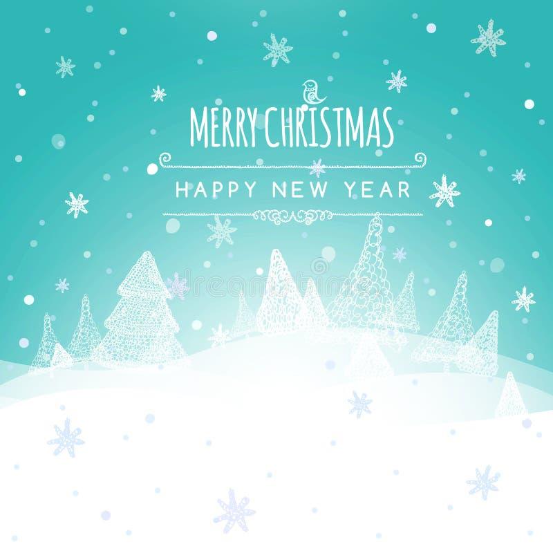 Glad jul landskap, bakgrund för vektor för ljus för julhälsningkort För ferieönska för glad jul design Lyckligt royaltyfri illustrationer