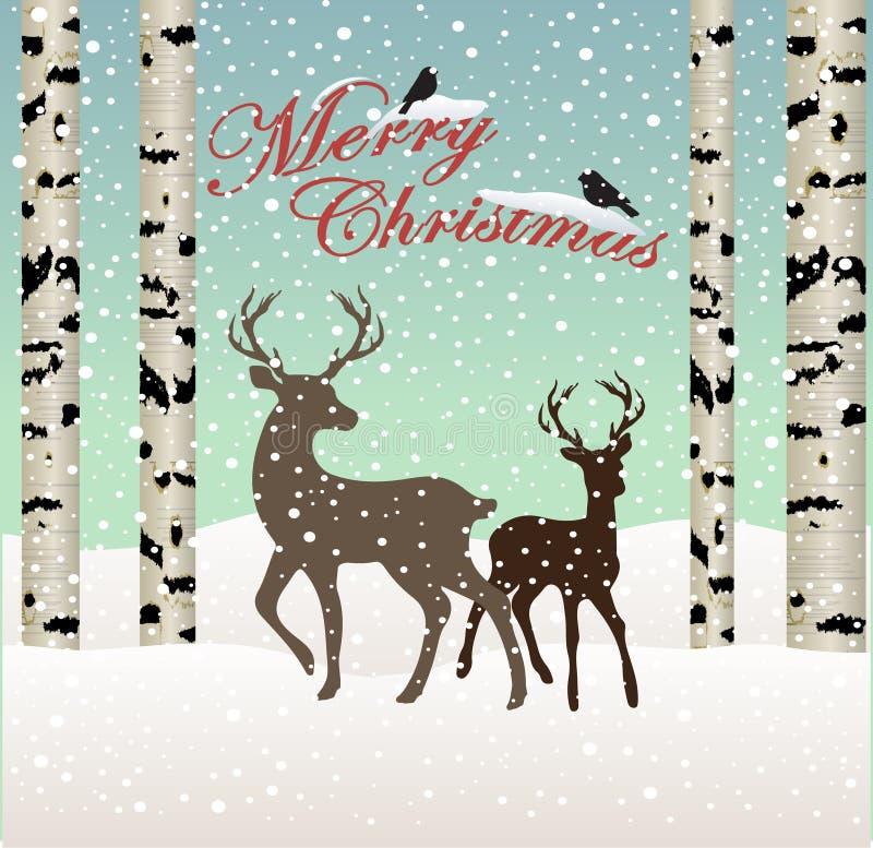 glad jul Landskap för snövinterskog med deers och fåglar, björkträd stock illustrationer