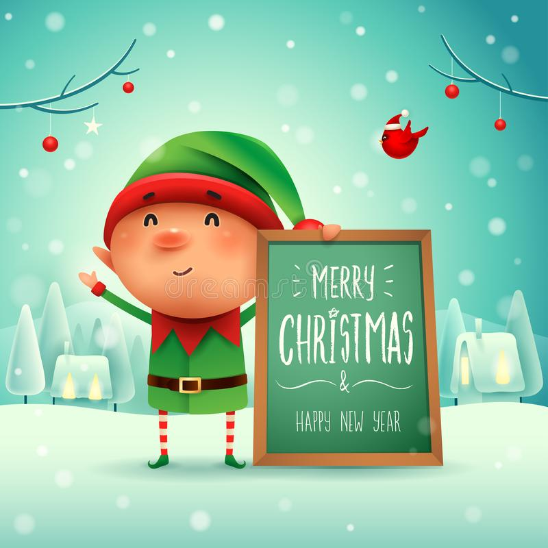 Glad jul! Liten älva med anslagstavlan i julsnö royaltyfri illustrationer